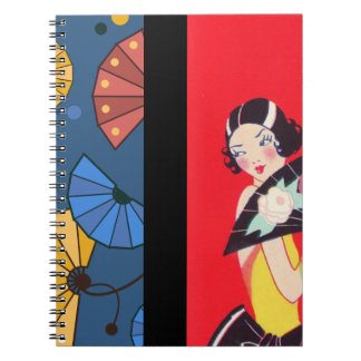Japanese Fans and Girl Red Gold Blue Notebook