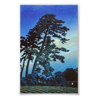Japanese Farm with Tree Woodblock Art Ukiyo-E Poster