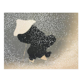JAPANESE FIGURE IN THE SNOW POSTCARD