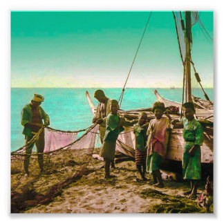 Japanese Fishermen Prepare Their Nets in Old Japan Photographic Print