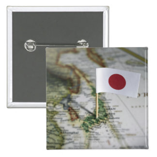 Japanese flag in map 2 inch square button