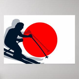 Japanese Flag Ski Japan Winter Sports Poster