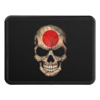 Japanese Flag Skull on Black Tow Hitch Covers
