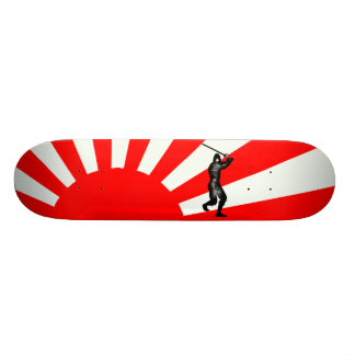 Japanese Flag with Ninja Skateboard Deck