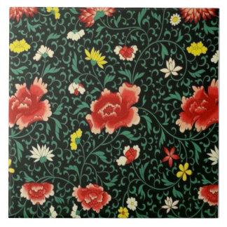 Japanese Floral and Leaf Ceramic Tile