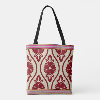 Japanese Floral Art All-Over-Print Tote Bag
