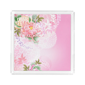 Japanese Floral Art Mums Pink White Green tray