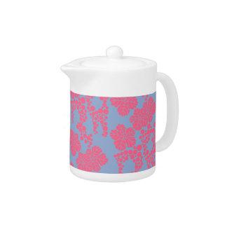 Japanese Floral Print - Pink & Purple Teapot