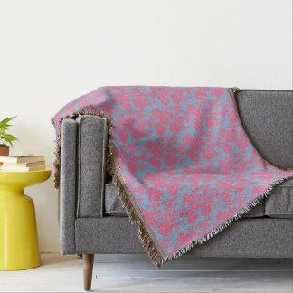 Japanese Floral Print  Pink & Purple Throw Blanket