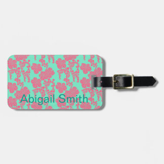 Japanese Floral Print - Pink & Teal Luggage Tag