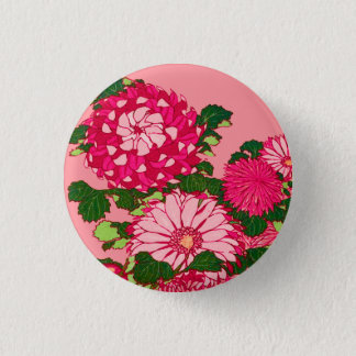 Japanese Flower Border, Fuchsia and Coral Pink 1 Inch Round Button