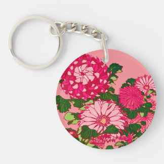 Japanese Flower Border, Fuchsia and Coral Pink Keychain