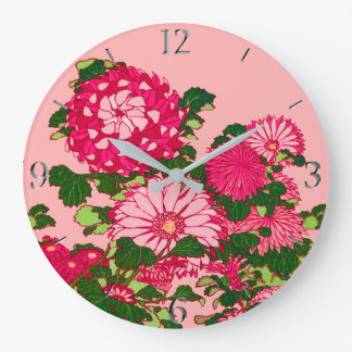 Japanese Flower Border, Fuchsia and Coral Pink Large Clock