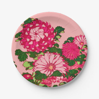Japanese Flower Border, Fuchsia and Coral Pink Paper Plate