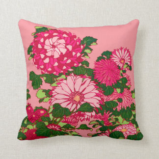 Japanese Flower Border, Fuchsia and Coral Pink Throw Pillow