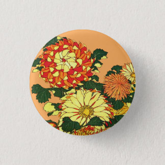 Japanese Flower Border, Mandarin Orange and Gold 1 Inch Round Button