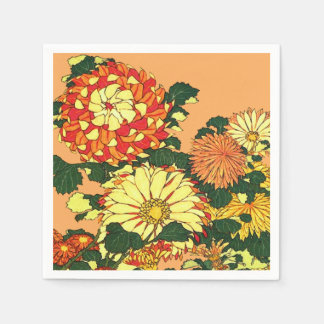 Japanese Flower Border, Mandarin Orange and Gold Disposable Napkins