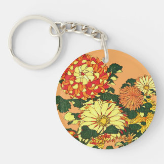 Japanese Flower Border, Mandarin Orange and Gold Keychain