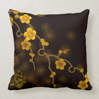 Japanese Flower Design Throw Pillow