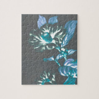 Japanese Flowers Teal Taupe Gray Puzzles