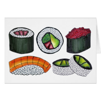 Japanese Food Sushi California Roll Nigiri Foodie Card