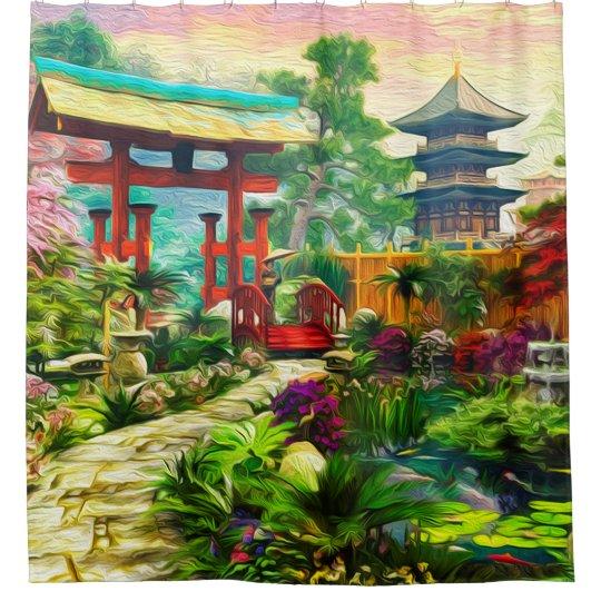 Japanese Garden Pagoda Sakura And Waterfall