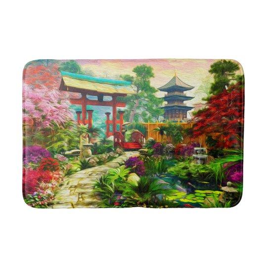 Japanese Garden Pagoda Sakura And Waterfall Bath Mat