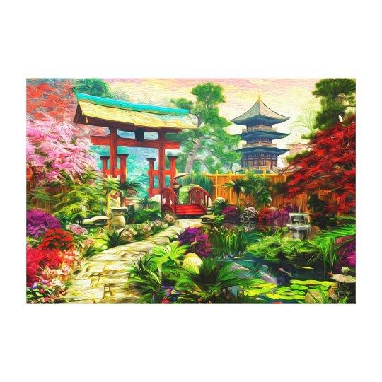 Japanese Garden Pagoda Sakura And Waterfall Canvas Print