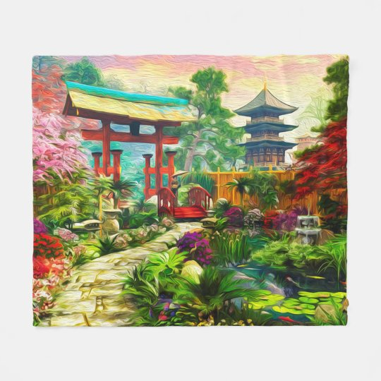 Japanese Garden Pagoda Sakura And Waterfall Fleece Blanket