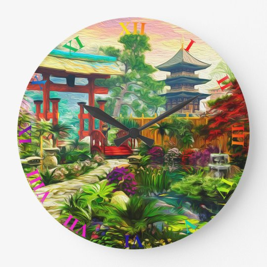 Japanese Garden Pagoda Sakura And Waterfall Large Clock