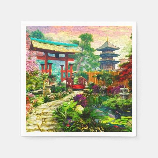 Japanese Garden Pagoda Sakura And Waterfall Napkin