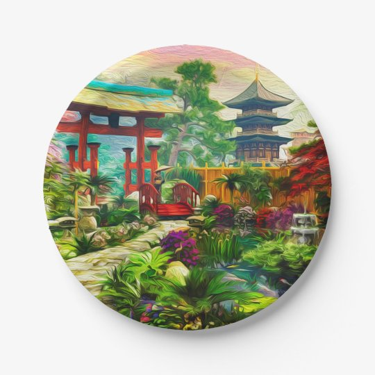 Japanese Garden Pagoda Sakura And Waterfall Paper Plate