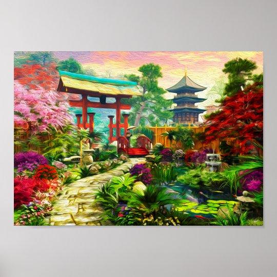 Japanese Garden Pagoda Sakura And Waterfall Poster