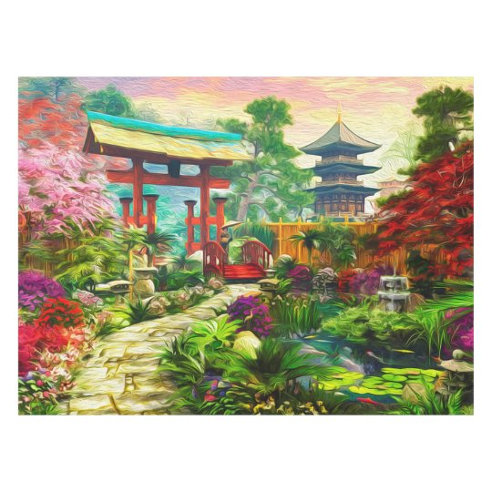Japanese Garden Pagoda Sakura And Waterfall Tablecloth