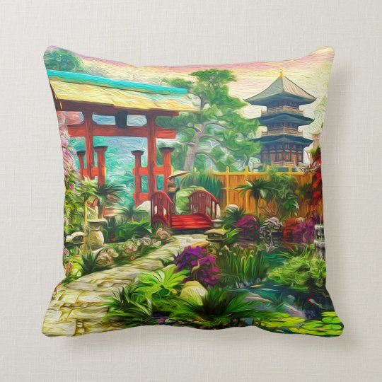 Japanese Garden Pagoda Sakura And Waterfall Throw Pillow