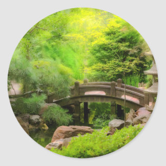 Japanese Garden - Water under the bridge Classic Round Sticker