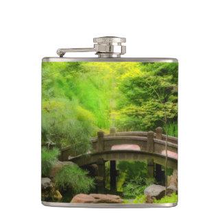 Japanese Garden - Water under the bridge Hip Flask