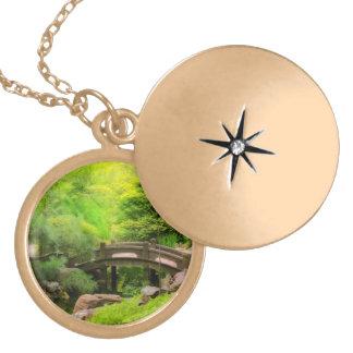 Japanese Garden - Water under the bridge Locket Necklace