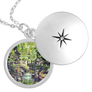 Japanese Garden With Bridge and Stream Silver Plated Necklace