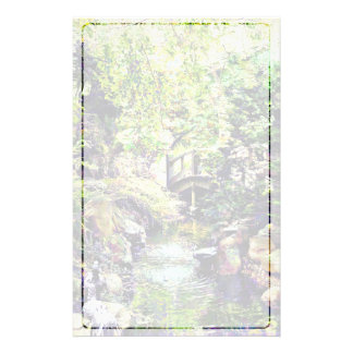 Japanese Garden With Bridge and Stream Stationery