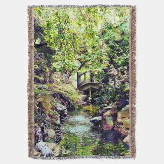 Japanese Garden With Bridge and Stream Throw Blanket