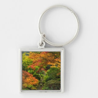 Japanese Gardens In Autumn In Portland, Oregon 2 Silver-Colored Square Keychain