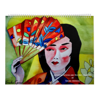 Japanese Geisha and Koi Art calendar