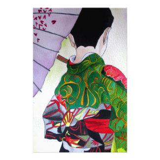 Japanese Geisha art with kimono and umbrella Personalized Stationery