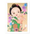 Japanese Geisha & Cat Post Card