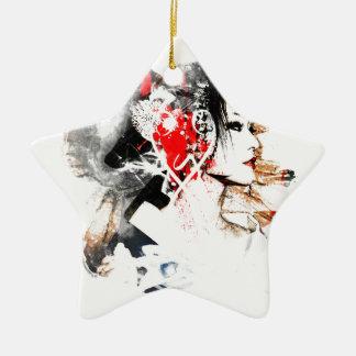 Japanese Geisha Ceramic Star Ornament