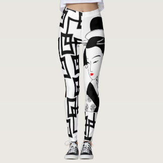japanese geisha girl black white graphic leggings