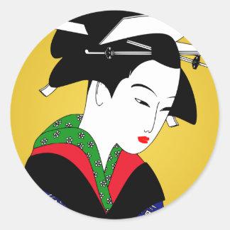Japanese Geisha Girl Classic Round Sticker