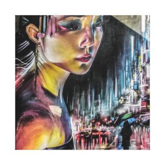 Japanese Geisha Girl Streets of Tokyo Painting Canvas Print