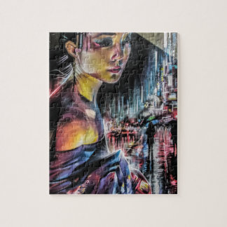 Japanese Geisha Girl Streets of Tokyo Painting Jigsaw Puzzle